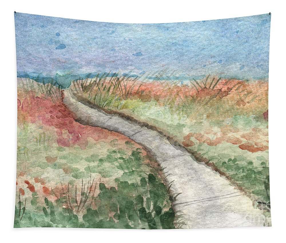 Beach Tapestry featuring the painting Beach Path by Linda Woods