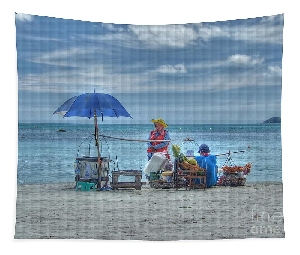 Michelle Meenawong Tapestry featuring the photograph Beach Sellers by Michelle Meenawong
