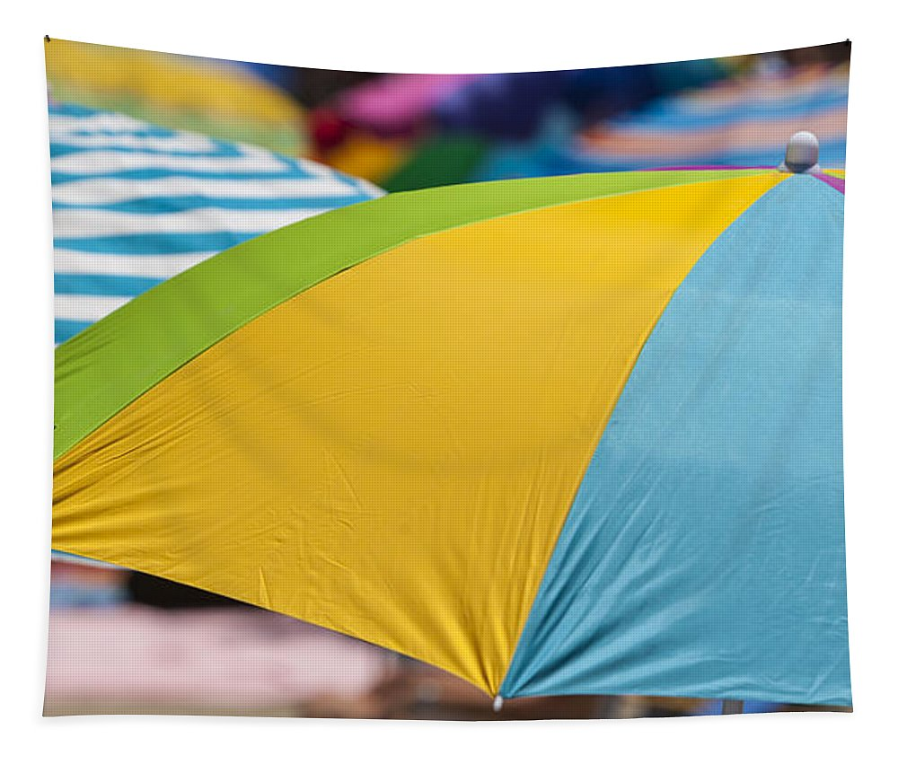 Umbrella Tapestry featuring the photograph Beach Umbrella Rainbow 1 by Scott Campbell