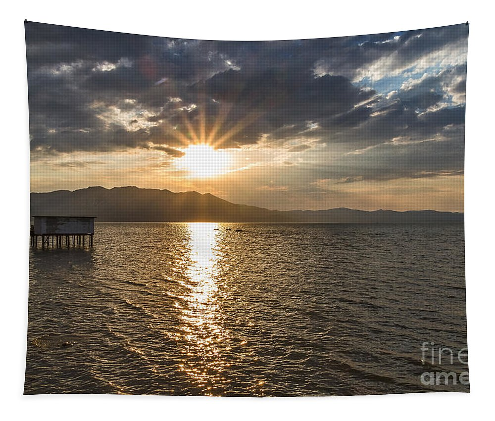 Boathouse Sunset Tapestry featuring the photograph Beachcombers Ride by Mitch Shindelbower