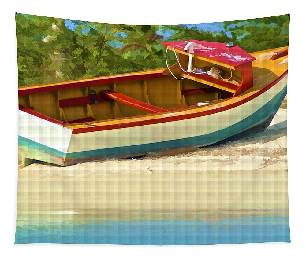 Aqua Tapestry featuring the photograph Beached Fishing Boat of the Caribbean by David Letts