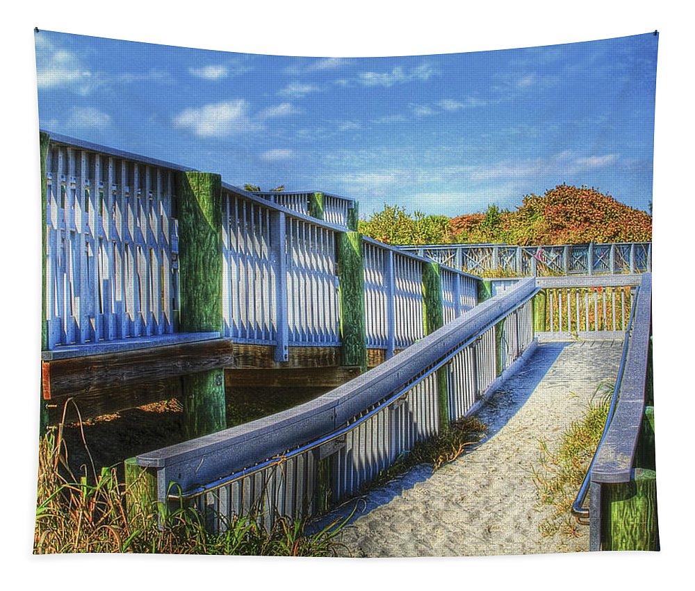Clouds Tapestry featuring the photograph Beachwalk by Debra and Dave Vanderlaan
