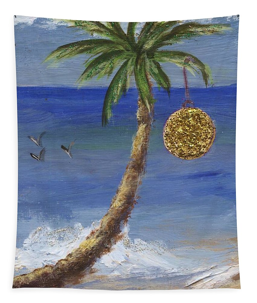 Palm Tapestry featuring the painting Beachy Christmas by Jamie Frier