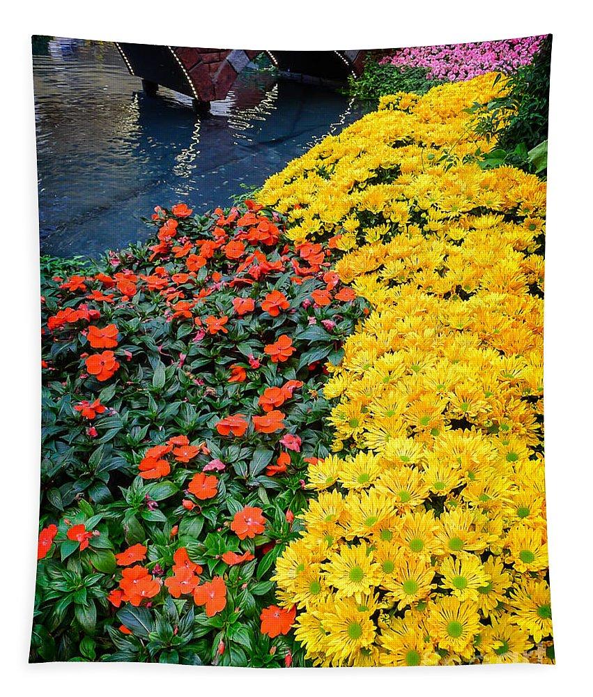 Las Vegas Nevada Trip Destination Travel Hotel Strip Resort Vacation Tapestry featuring the photograph Beautiful Flower Garden Bellagio Las Vegas by Edward Fielding