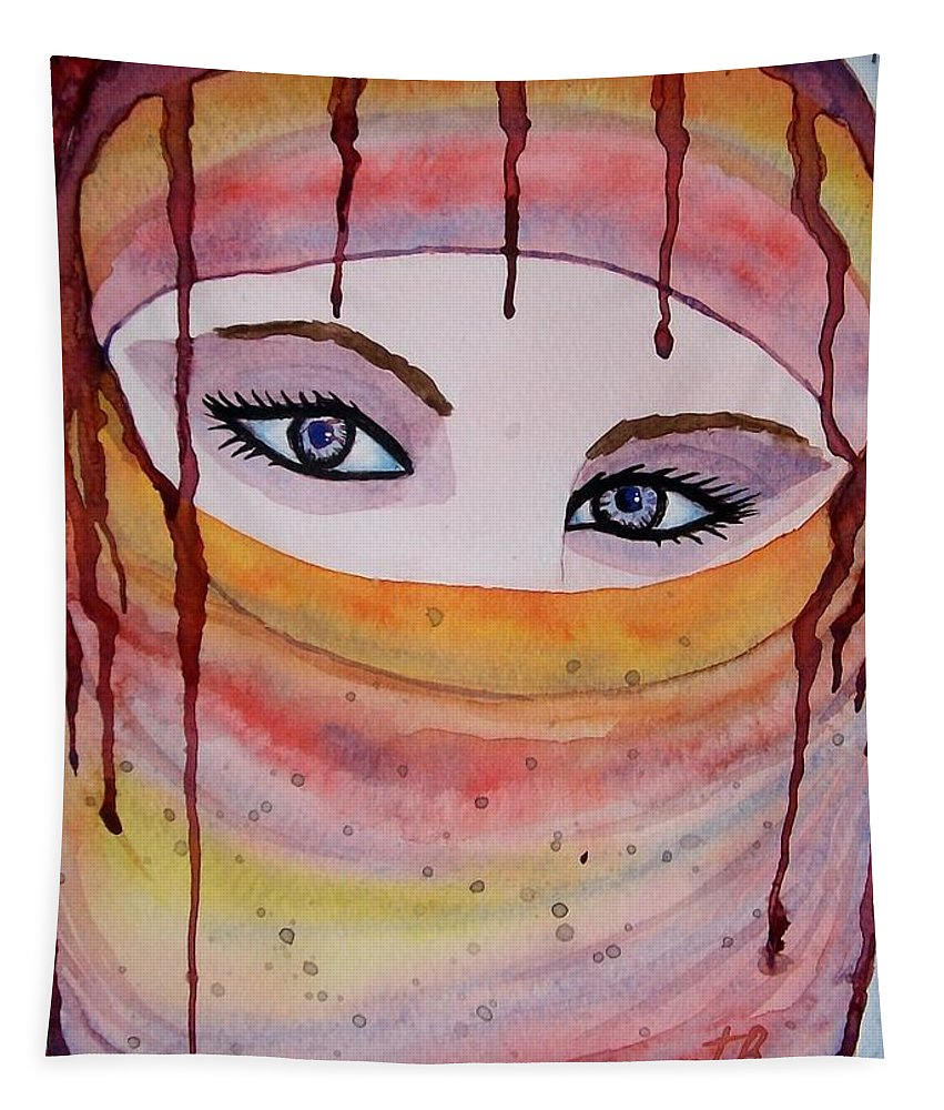 Midlle Eastern Woman Tapestry featuring the painting Beautiful Woman With Niqab Watercolor Painting by Georgeta Blanaru