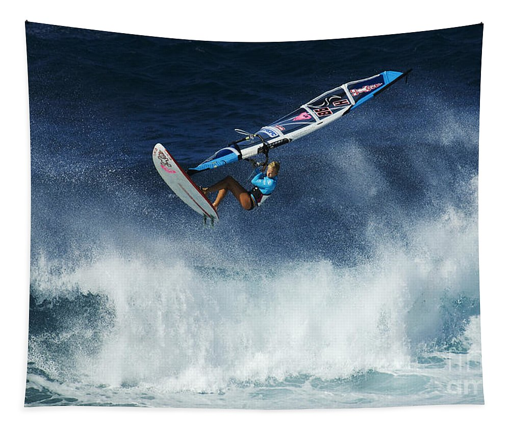 Surf Tapestry featuring the photograph Beauty Of Windsurfing Maui 1 by Bob Christopher