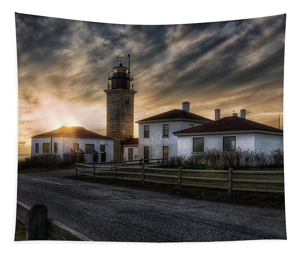 Joan Carroll Tapestry featuring the photograph Beavertail Lighthouse Sunset by Joan Carroll