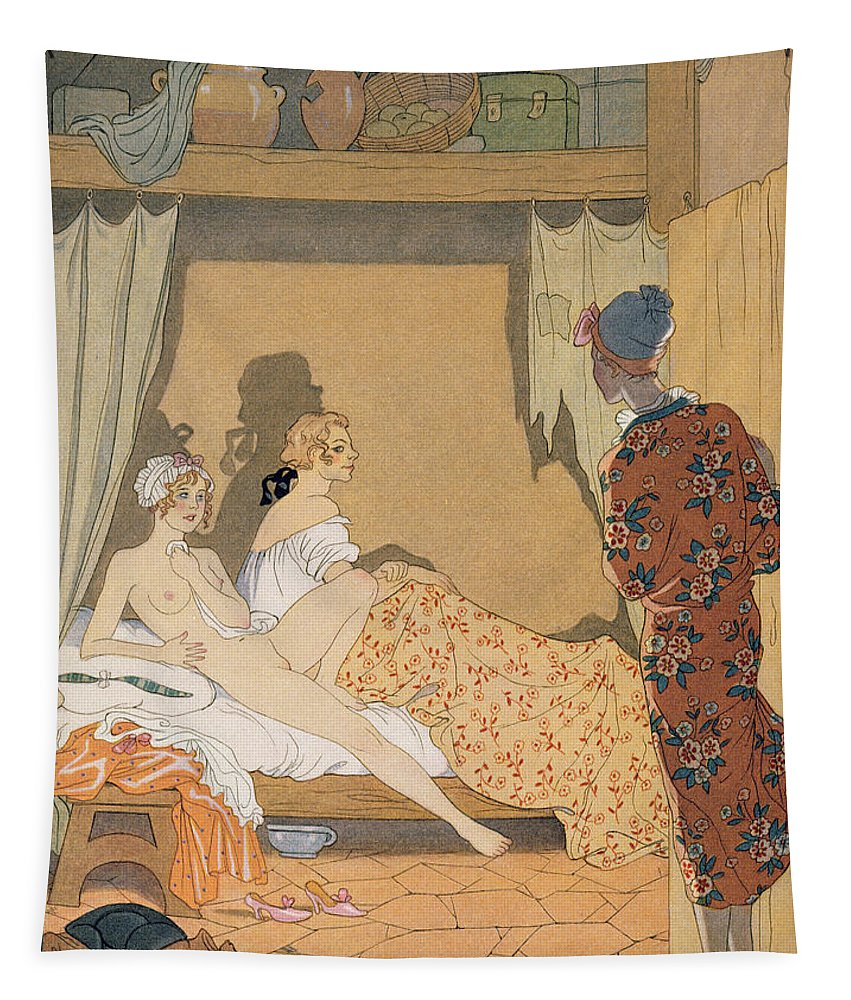 Lovers Tapestry featuring the painting Bedroom Scene by Georges Barbier