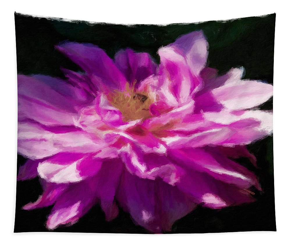 Dahlia Tapestry featuring the photograph Bee In Purple Dahlia by Alice Gipson