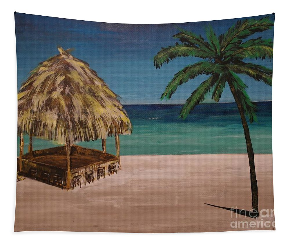 Tapestry featuring the painting Before Hours by Wayne Cantrell