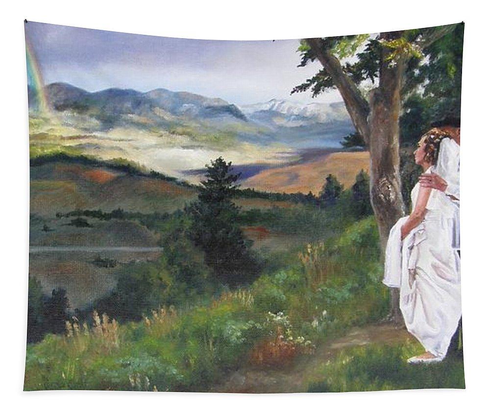 Rainbow Tapestry featuring the painting Beginnings by Lori Brackett