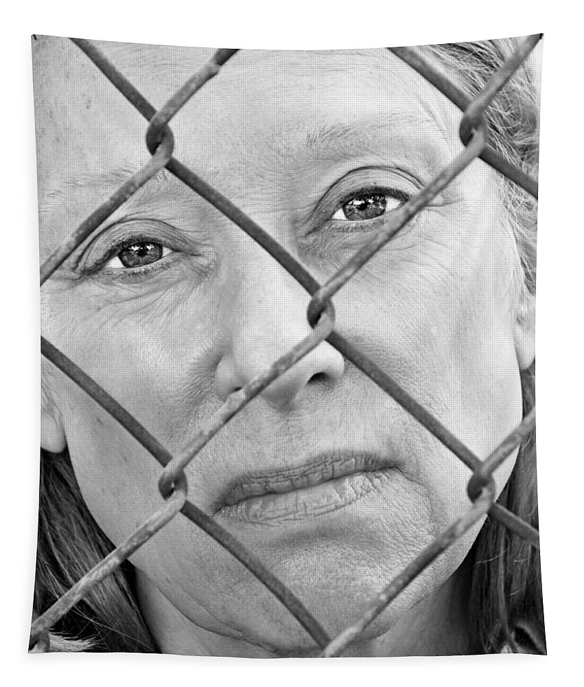 Woman Tapestry featuring the photograph Behind The Fence by Kathleen K Parker