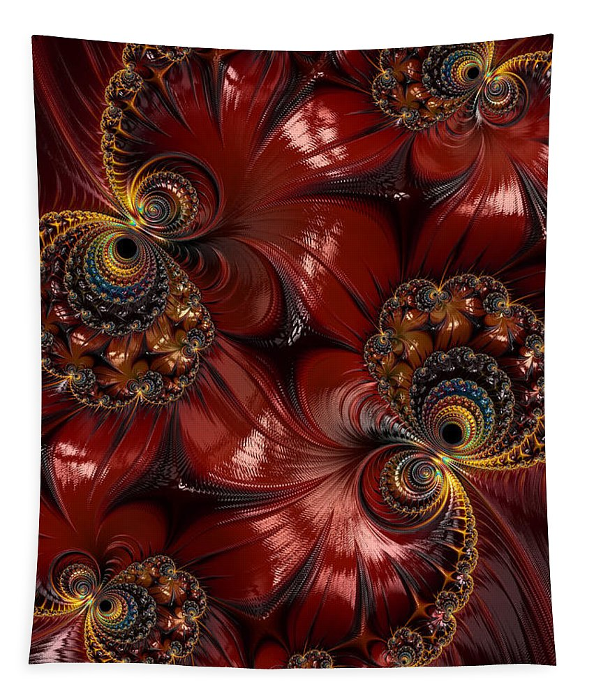 Fractal Tapestry featuring the photograph Bejewelled Crimson by Steve Purnell