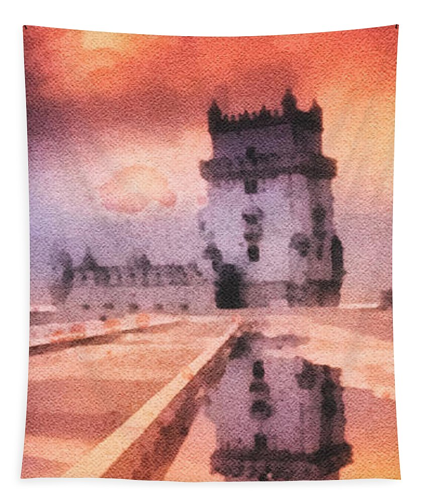 Belem Tower Tapestry featuring the painting Belem Tower by Mo T