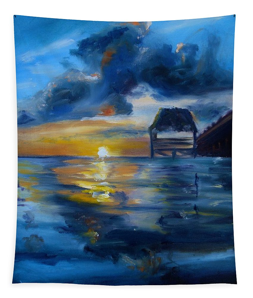 Belize Tapestry featuring the painting Belizean Sunrise by Donna Tuten