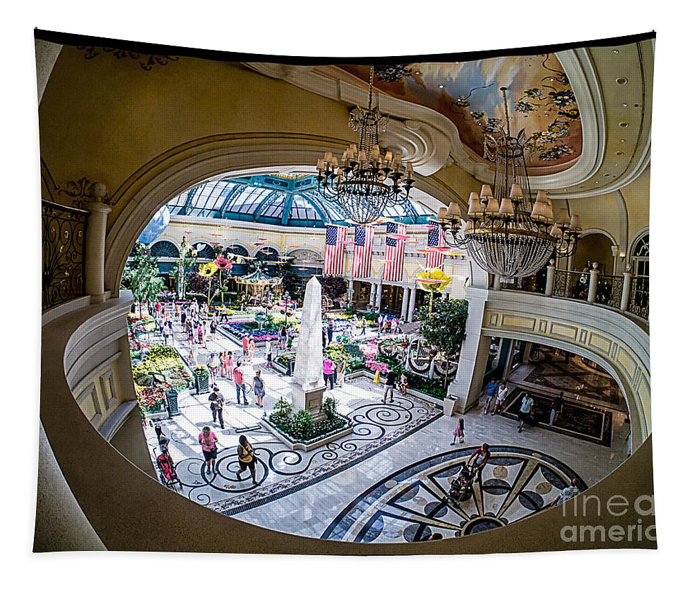 Las Vegas Nevada Trip Destination Travel Hotel Strip Tapestry featuring the photograph Bellagio Conservatory And Botanical Gardens by Edward Fielding