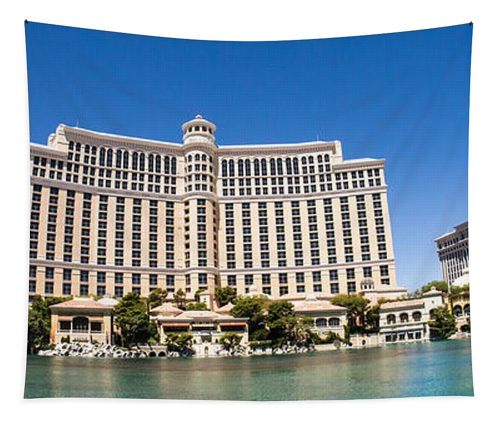 Las Vegas Nevada Trip Destination Travel Hotel Strip Bellagio Resort And Casino Panoramic Tapestry featuring the photograph Bellagio Resort And Casino Panoramic by Edward Fielding
