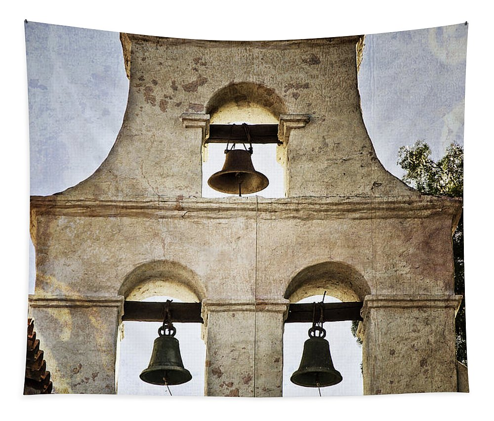 Mission Tapestry featuring the photograph Bells Of Mission San Diego by Joan Carroll