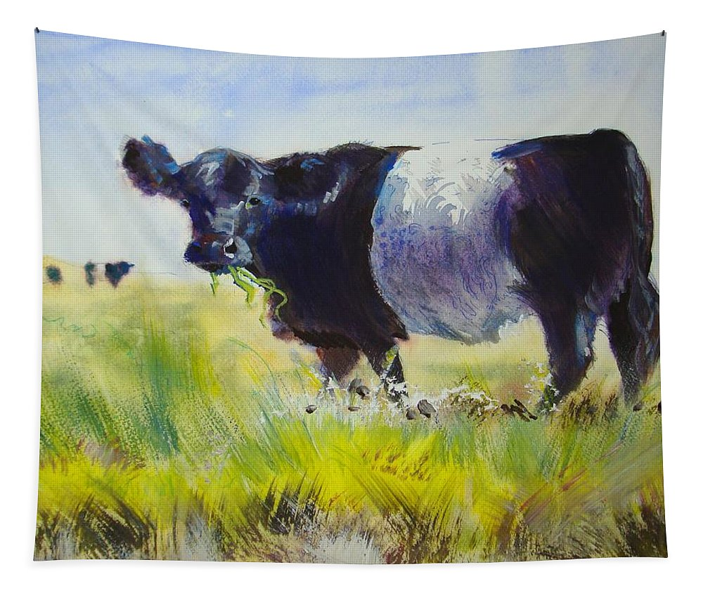 Cow Tapestry featuring the painting Belted Galloway Cow by Mike Jory