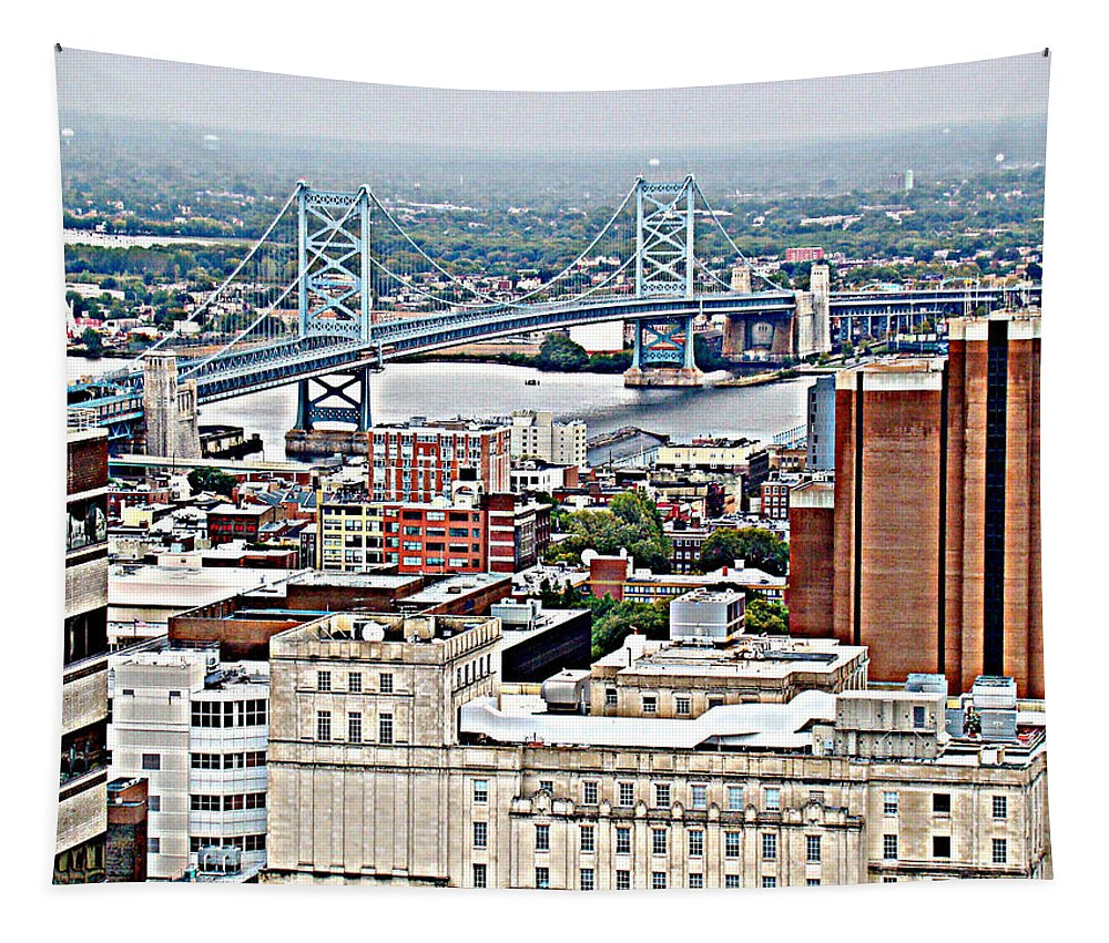 Aerial Philadelphia Ben Franklin Bridge Delaware River City Tapestry featuring the photograph Ben Franklin View by Alice Gipson
