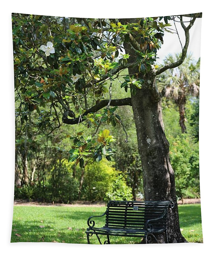 Bench Tapestry featuring the photograph Bench Under The Magnolia Tree by Carol Groenen