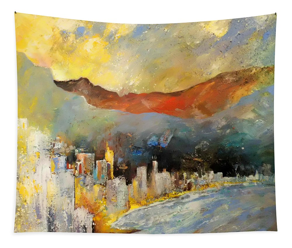 Landscapes Tapestry featuring the painting Benidorm 01 by Miki De Goodaboom