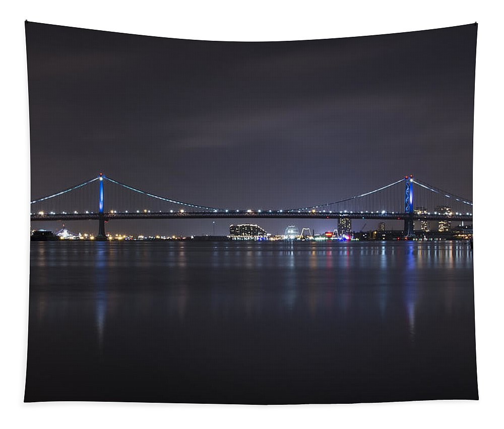 Benjamin Tapestry featuring the photograph Benjamin Franklin Bridge At Night From Penn Treaty Park by Bill Cannon