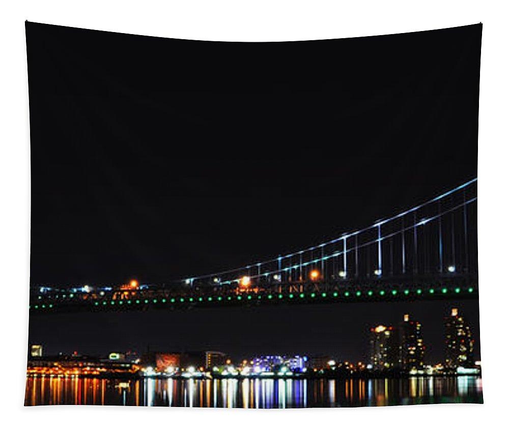 Benjamin Tapestry featuring the photograph Benjamin Franklin Bridge At Night Panarama by Bill Cannon