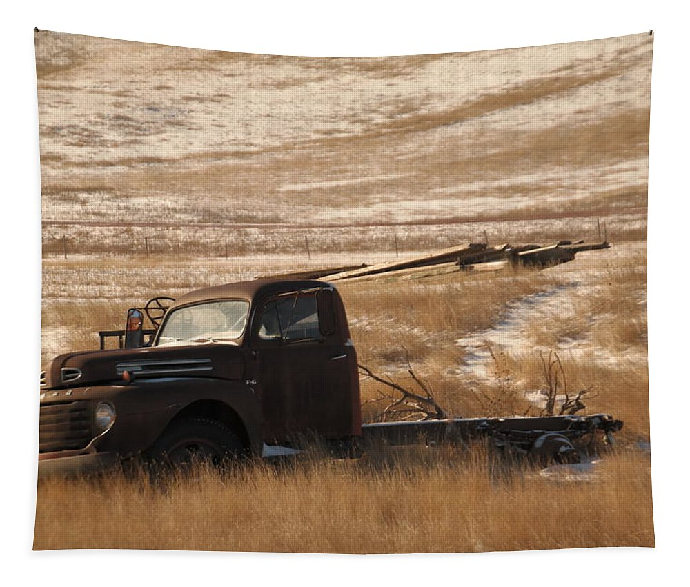 Trucks Tapestry featuring the photograph Bereft On The Plains by Jeff Swan