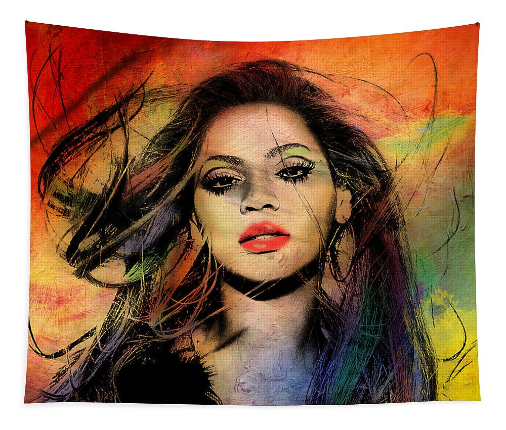 Beyonce Tapestry featuring the painting Beyonce by Mark Ashkenazi
