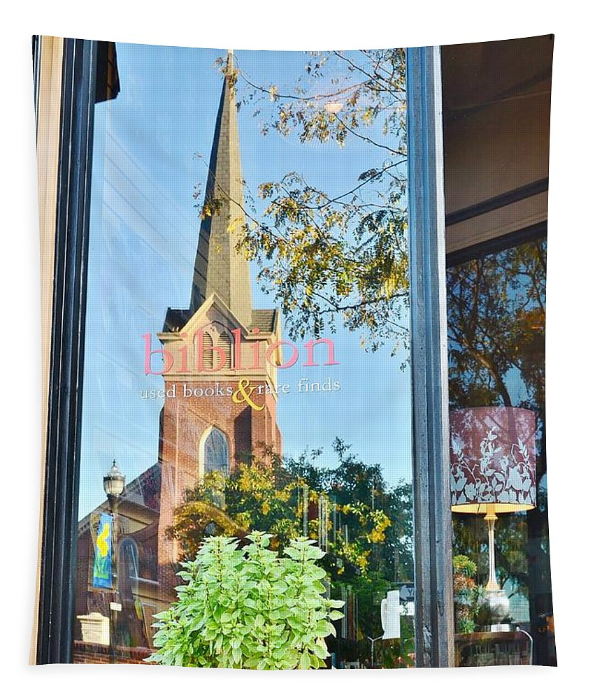 Biblion Tapestry featuring the photograph Biblion Used Books Reflections 3 - Lewes Delaware by Kim Bemis