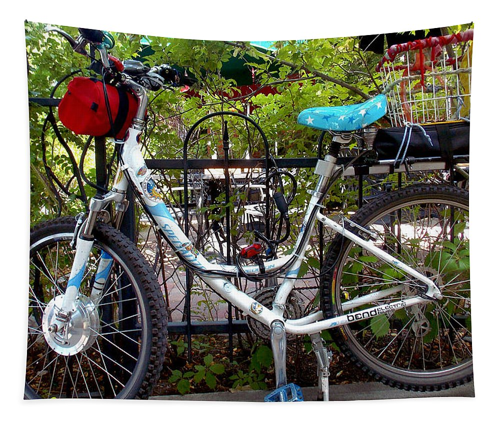 Bicycle Tapestry featuring the photograph Bicycle At St Francis Cafe by Wendy Raatz Photography