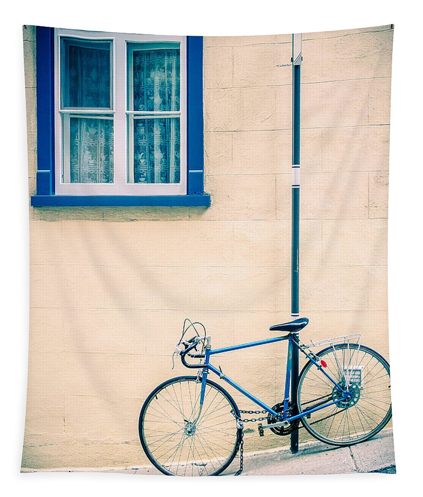 Street Tapestry featuring the photograph Bicycle On The Streets Of Old Quebec City by Edward Fielding