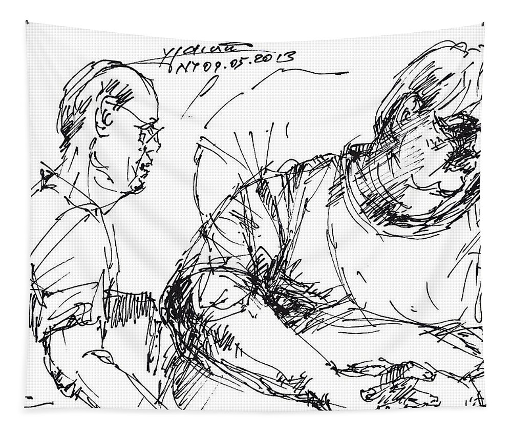 Men At Tim Hortons Tapestry featuring the drawing Big Billy And His Friend by Ylli Haruni