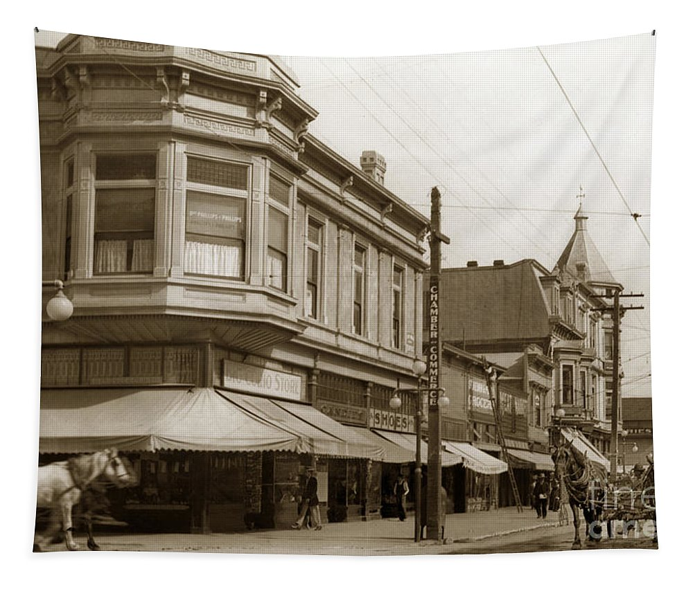 Big Curio Store Tapestry featuring the photograph Big Curio Store Santa Cruz At 28 Pacific Avenue On The Corner Of Lincoln And Pacific. 1908 by California Views Archives Mr Pat Hathaway Archives