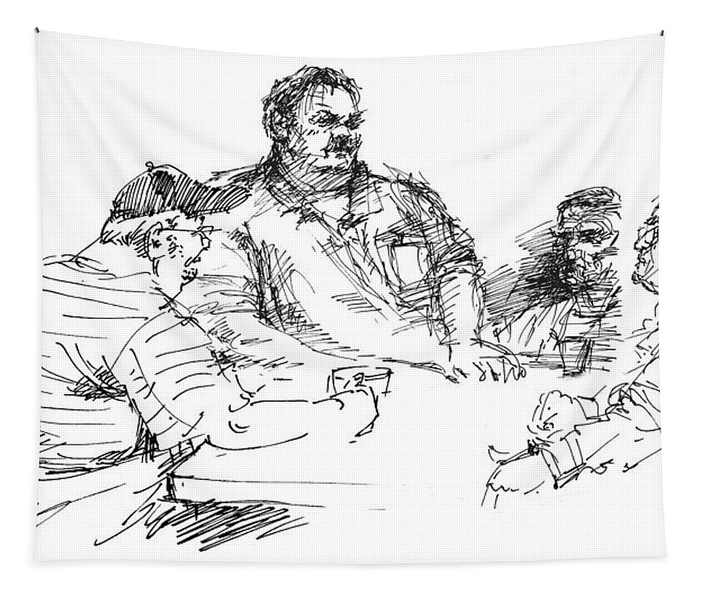 Sketch Tapestry featuring the drawing Big Guys And A Little Guy by Ylli Haruni