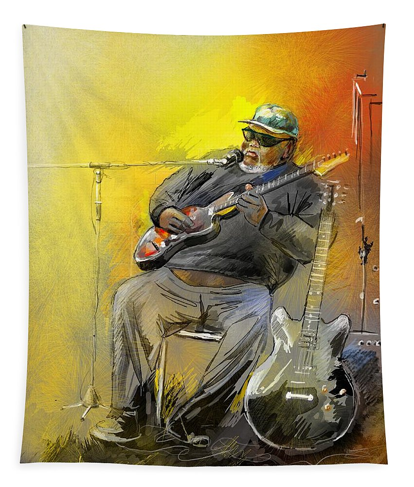 Blues Tapestry featuring the painting Big Jerry In Memphis by Miki De Goodaboom