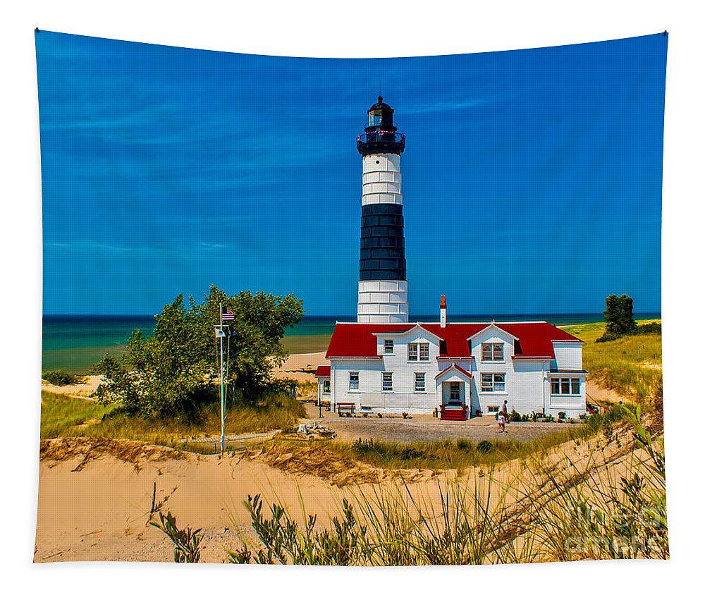 Beach Tapestry featuring the photograph Big Sable Light On The Shore by Nick Zelinsky