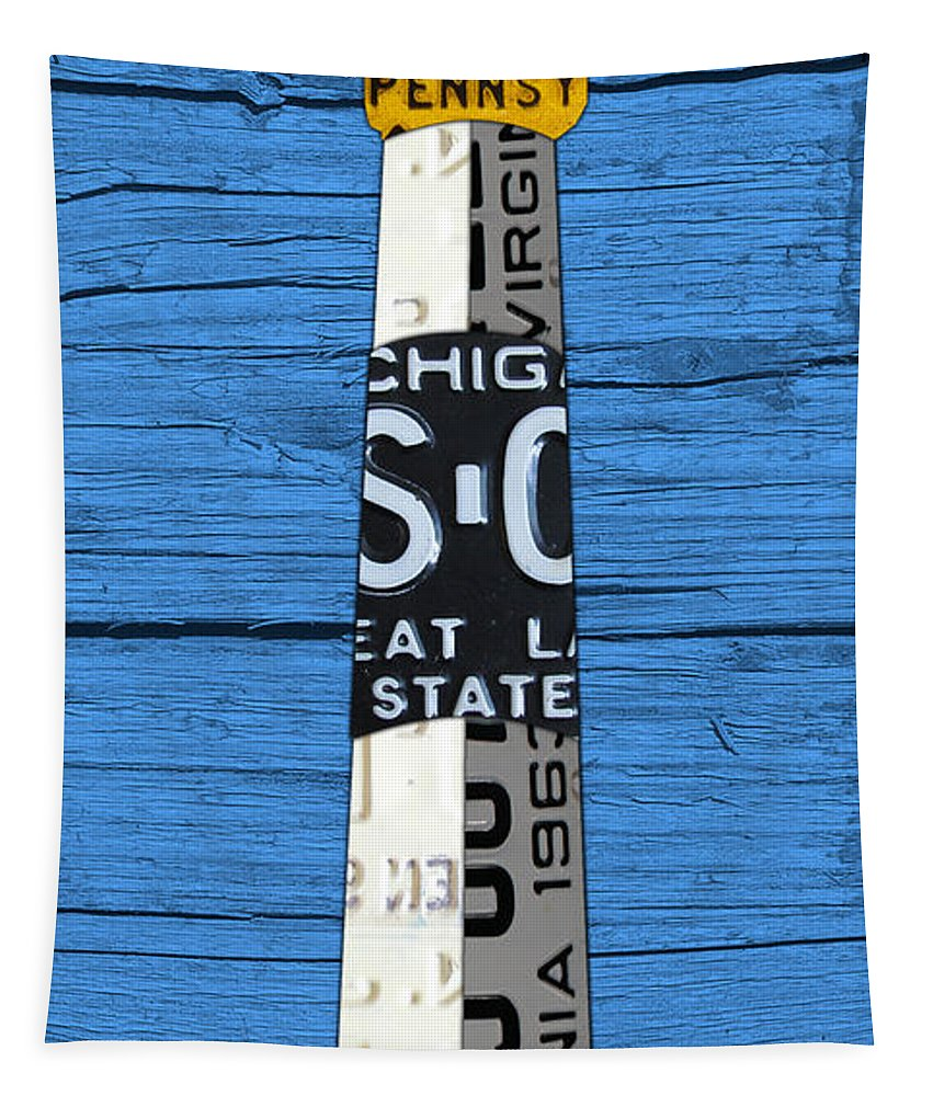 Big Tapestry featuring the mixed media Big Sable Point Lighthouse Michigan Great Lakes License Plate Art by Design Turnpike