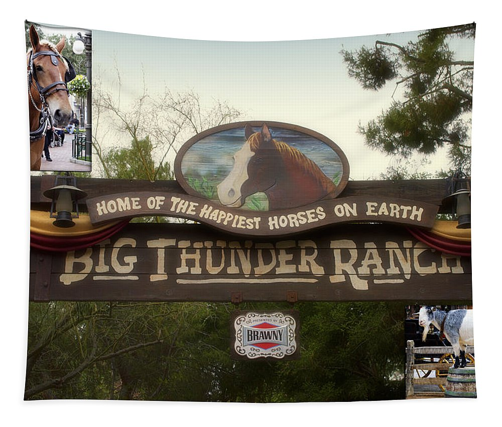 Disney Tapestry featuring the photograph Big Thunder Ranch Signage Frontierland Disneyland by Thomas Woolworth
