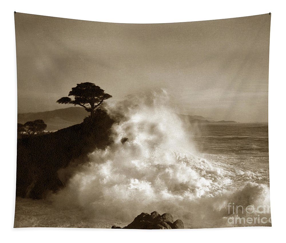 Big Wave Tapestry featuring the photograph Big Wave Hitting The Lone Cypress Tree Pebble Beach California 1916 by California Views Archives Mr Pat Hathaway Archives