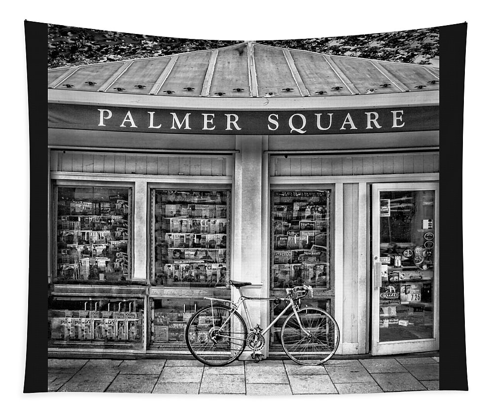 Bicycle Tapestry featuring the photograph Bike At Palmer Square Book Store In Princeton by Ben and Raisa Gertsberg
