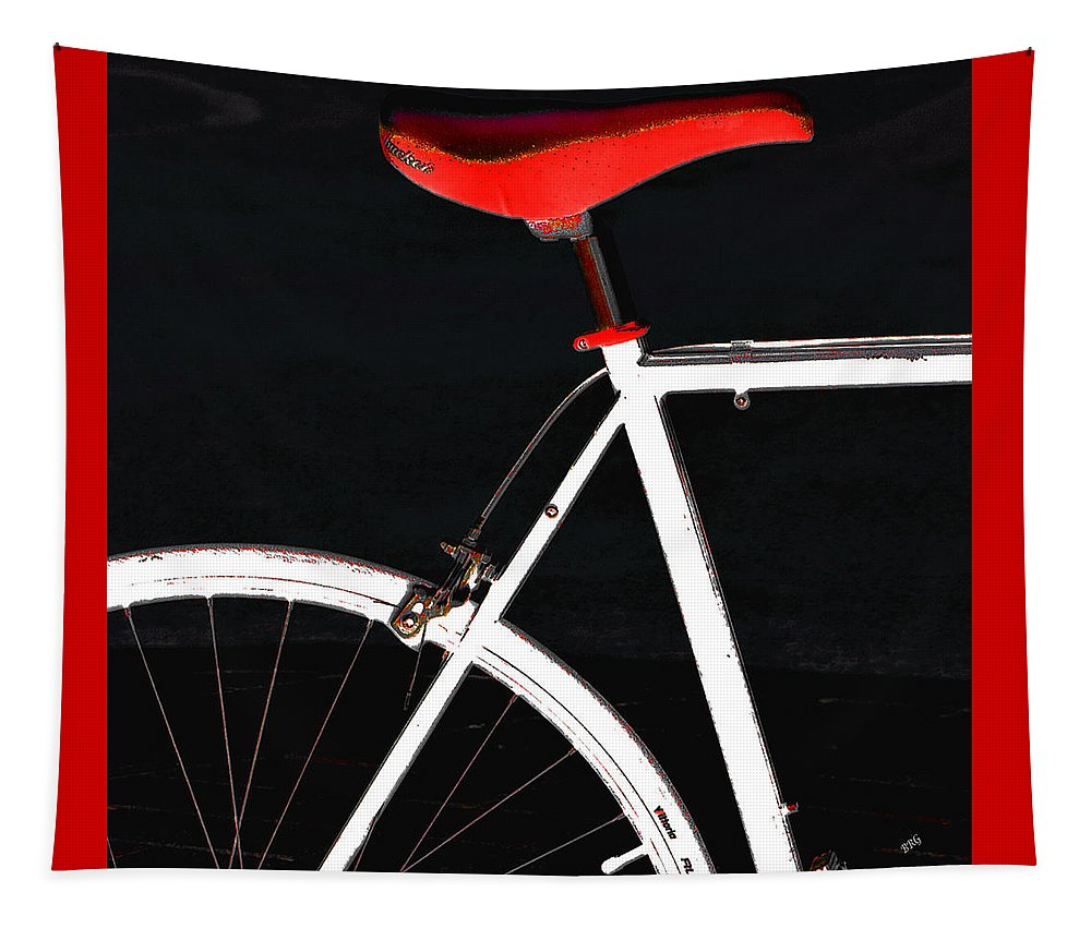 Bicycle Tapestry featuring the photograph Bike In Black White And Red No 1 by Ben and Raisa Gertsberg