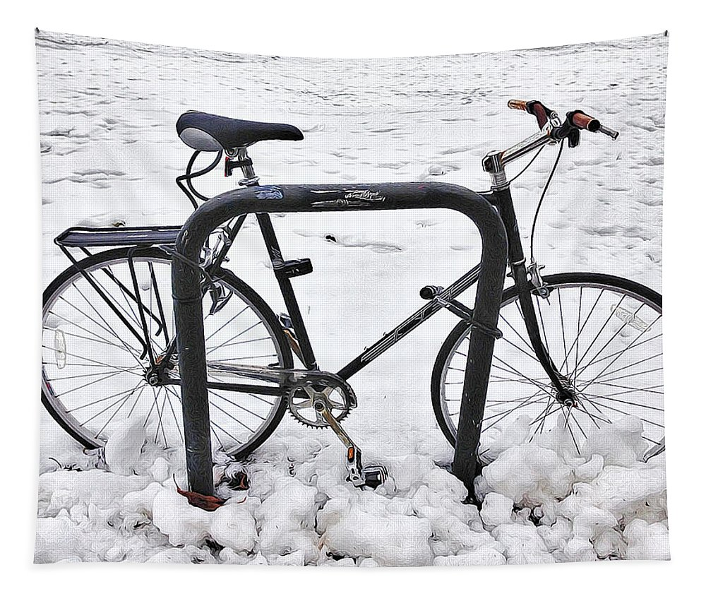 Bike Tapestry featuring the photograph Bike In The Snow by Alice Gipson