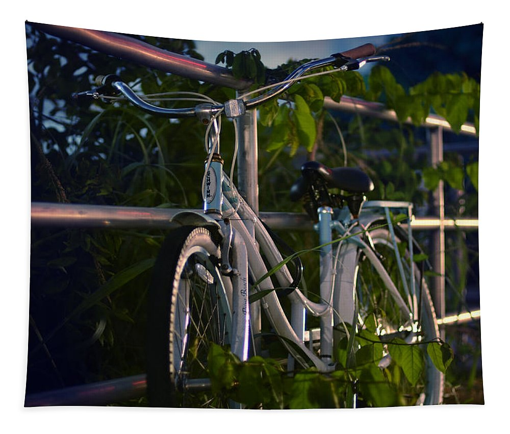 Night Tapestry featuring the photograph Bike Noir by Laura Fasulo