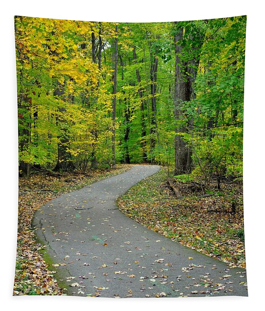 Pathway Tapestry featuring the photograph Bike Path by Frozen in Time Fine Art Photography