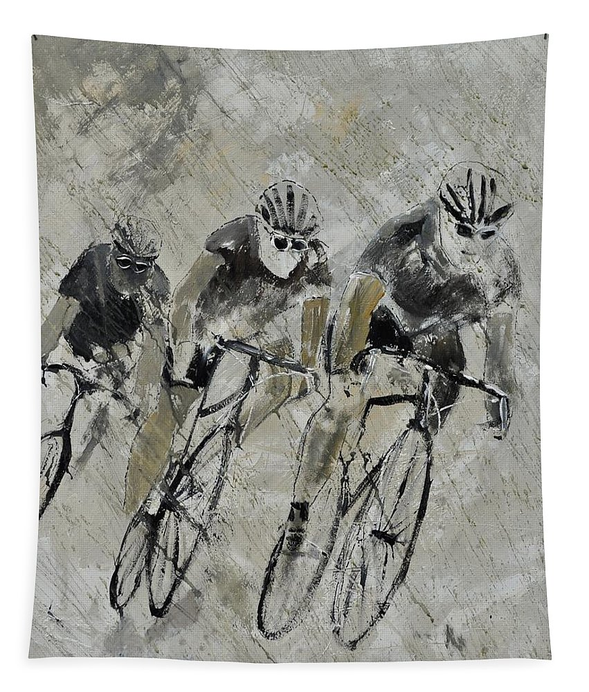Sports Tapestry featuring the painting Bikes In The Rain by Pol Ledent