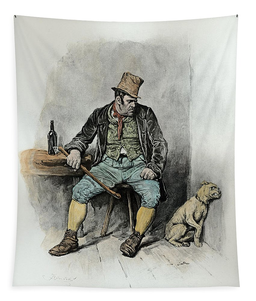Male Tapestry featuring the drawing Bill Sykes And His Dog, From Charles by Frederick Barnard