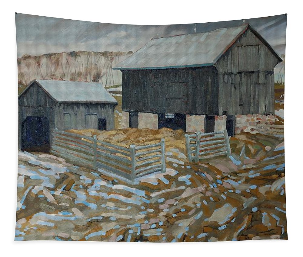 King Tapestry featuring the painting Bill's Barns by Phil Chadwick