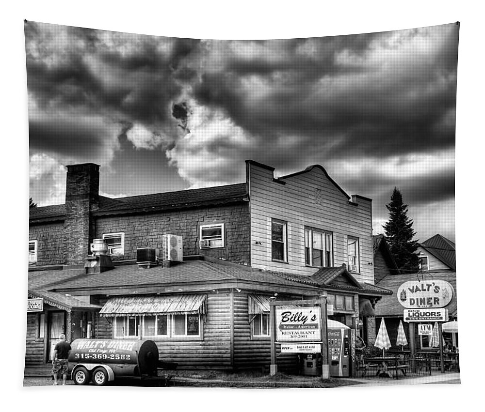 Walt's Diner Tapestry featuring the photograph Billy's Restaurant And Walt's Diner - Old Forge New York by David Patterson
